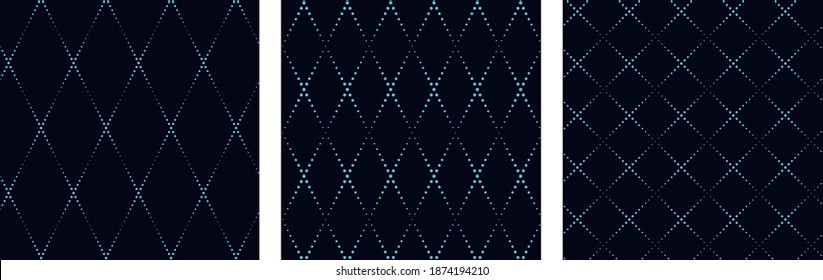 Minimalistic grid structure wicker background subtle texture dotted geometric lines design. Freeform lozenge pattern. Dot art drawing vintage graphic illustration high resolution image.