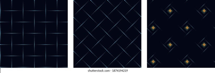 Minimalistic grid structure wicker background groove texture dotted geometric lines design. Crisscross squares pattern freeform mesh. Dot art drawing vintage graphic illustration high resolution image