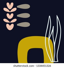 Minimalistic hand drawn artboard with abstract elements. Modern Scandinavian style composition. Vector illustration