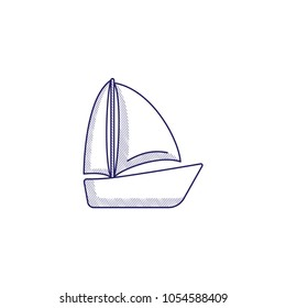 Minimalistic hand-drawn icon with a boat with sails. Hatched web icon. Internet symbol for your website design, logo, app, UI.