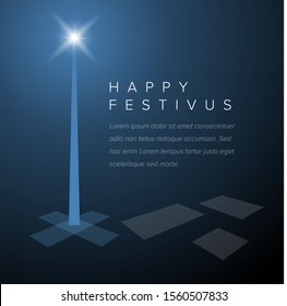 Minimalistic Happy festivus card template layout - dark blue version