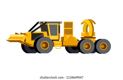 Minimalistic icon clam bunk skidder front side view. Grapple clambunk vehicle. Modern vector isolated illustration.