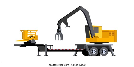 Minimalistic icon log loader with delimber and bar saw slasher front side view. Vehicle for working at forest area for delimbing, cutting and sorting wood pile. Modern vector isolated illustration.
