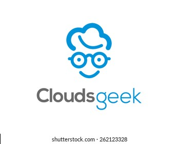 A minimalistic icon (logo) representing stylized cloud forming geek head. Could be used as a logo, as an icon or a separate visual depicting the cloud computing idea or illustrating cloud related idea