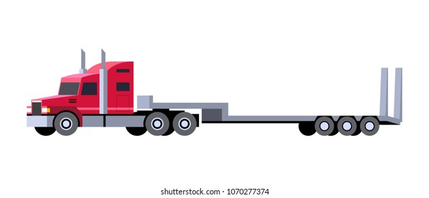 Minimalistic icon lowboy trailer truck front side view. Semi trailer tractor vehicle. Vector isolated illustration.
