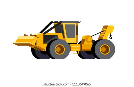 Minimalistic icon wheeled cable skidder front side view. Cable skidder vehicle. Modern vector isolated illustration.