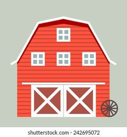 minimalistic illustration of a barn, eps10 vector