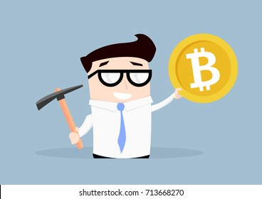minimalistic illustration of a businessman holding a pickaxe and a bitcoin, concept of bitcoin mining, eps10 vector