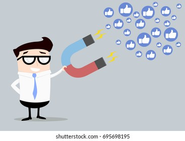 minimalistic illustration of a businessman holding a red and blue horseshoe magnet attracting likes, social media and influencer marketing concept, eps10 vector
