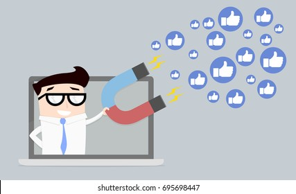 minimalistic illustration of a businessman on a computer screen holding a magnet attracting likes, social media and influencer marketing concept, eps10 vector