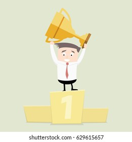 minimalistic illustration of a businessman on a podium holding a golden trophy, eps10 vector