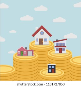 minimalistic illustration of different houses on top of coin stacks, real estate concept, eps10 vector