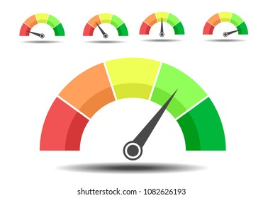 minimalistic illustration of different rating meters, customer satisfaction concept, eps10 vector