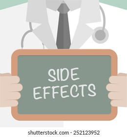minimalistic illustration of a doctor holding a blackboard with Side Effects text, eps10 vector