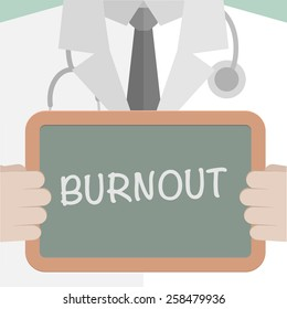 minimalistic illustration of a doctor holding a blackboard with Burnout text, eps10 vector