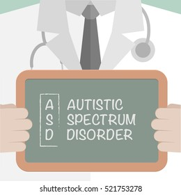 minimalistic illustration of a doctor holding a blackboard with ASD term explanation, eps10 vector