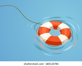 Minimalistic Illustration Featuring an Orange Floater Set Against a Blue Background