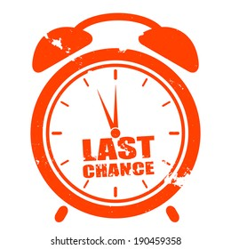 "minimalistic illustration of a grungy clock with ""last chance"" text, eps10 vector"