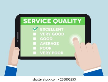 minimalistic illustration of hands holding a tablet computer with service quality survey, eps10 vector