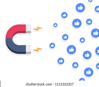minimalistic illustration of a magnet attracting likes, social media and influencer marketing concept, eps10 vector