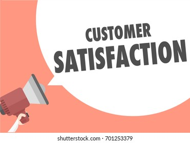 minimalistic illustration of a megaphone with Customer Satisfaction text in a speech bubble, eps10 vector