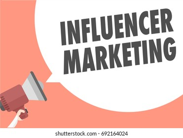 minimalistic illustration of a megaphone with Influencer Marketing text in a speech bubble, eps10 vector