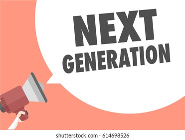 minimalistic illustration of a megaphone with next generation text in a speech bubble, eps10 vector