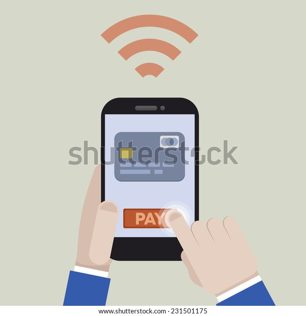 minimalistic illustration of mobile payment with a smartphone application, eps10 vector