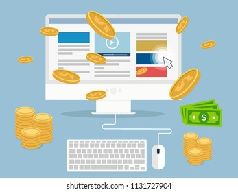 minimalistic illustration of a monitor with elements and money coins and bills, affiliate income concept, eps10 vector