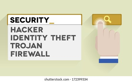 minimalistic illustration of a search bar with security keyword and associations, eps10 vector