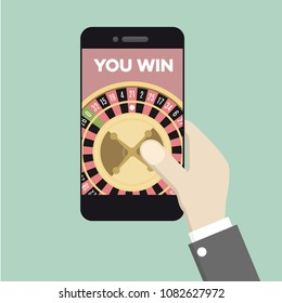 minimalistic illustration of a smartphone with running gambling application, online gambling concept, eps10 vector