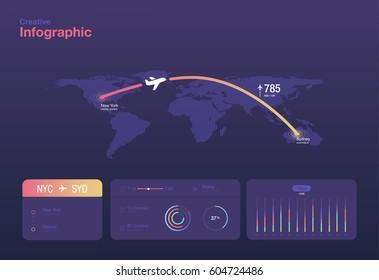 Minimalistic infographics of air travel
