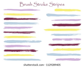 Minimalistic ink brush stroke stripes vector set, purple horizontal marker or paintbrush lines patch. Hand drawn watercolor paint brushes, smudge strokes collection. Vector ink color palette samples.