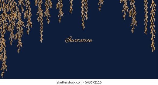 Minimalistic invitation (save the date) card with hand drawn willow branches on deep dark blue color background. Top spring and summer wedding palette 2017 - navy and gold.