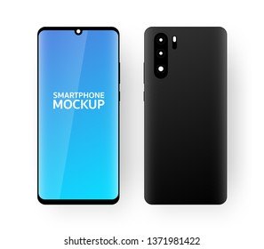 minimalistic isometric illustration of smartphone freont and back top view, mockup generic device. template for infographics or presentation UI design. vector