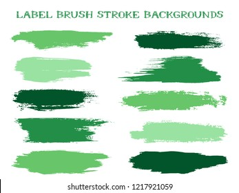 Minimalistic label brush stroke backgrounds, paint or ink smudges vector for tags and stamps design. Painted label backgrounds patch. Interior colors scheme elements. Ink dabs, green splashes.