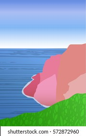 a minimalistic landscape with seaside; sky; seashore of rocks and slopes; a vector illustration