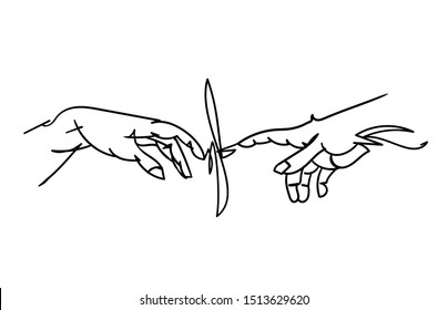 Minimalistic line hand drawn vector illustration. The Creation of Adam.