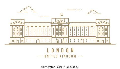 Minimalistic line-art landmark icon of Buckingham Palace in London, United Kingdom. Beautiful vector illustration.