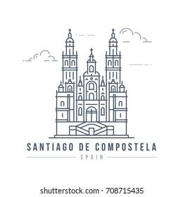 Minimalistic line-art landmark icon of the Cathedral of Santiago de Compostela in Spain.