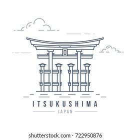 Minimalistic line-art landmark icon of the Itsukushima shrine in Japan. Beautiful vector illustration.