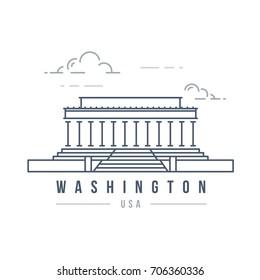 Minimalistic line-art landmark icon of the Lincoln memorial in Washington, USA.