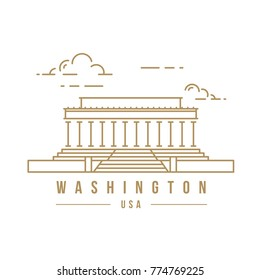 Minimalistic line-art landmark icon of the Lincoln memorial in Washington, USA.