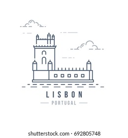 Minimalistic line-art landmark icon of Lisbon, Portugal