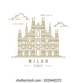 Minimalistic line-art landmark icon of the Milan Cathedral in Milan, Italy. Beautiful vector illustration.