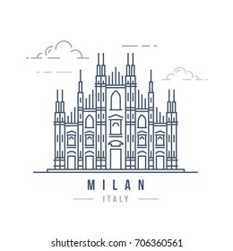 Minimalistic line-art landmark icon of the Milan cathedral in Milan, Italy.