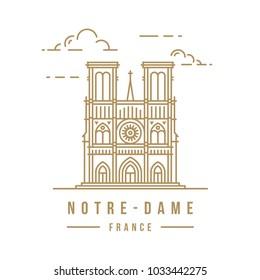 Minimalistic line-art landmark icon of the Notre-Dame in Paris, France. Beautiful vector illustration.