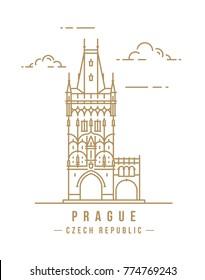 Minimalistic line-art landmark icon of the Powder Tower in Prague, Czech Republic. Beautiful vector illustration.