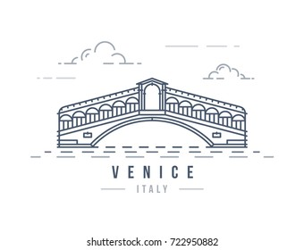 Minimalistic line-art landmark icon of the Rialto Bridge in Venice, Italy. Beautiful vector illustration.