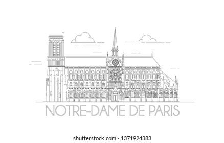 Minimalistic line-art of the Notre-Dame in Paris, France. Beautiful vector illustration. Outline Notre Dame